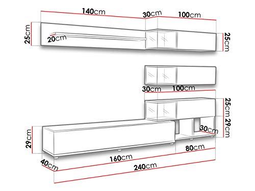 Wohnwand – Graue, elegante Anbauwand mit LED Bild 3*