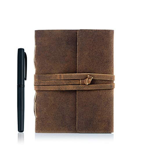 Leather Journal Lined Paper with luxury pen Handmade Leather Journal/Writing Notebook Diary/Bound Daily Notepad for Men & Women Medium, Writing pad Gift for Artist, Sketch (8 X 6)