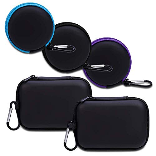 Anezus Earbuds Earphone Carry Cases, 5 Pack Headphone Carrying Pouch Storage Bag with Zipper and Carabiner for Smartphone Earphone USB Cable,SD Cards,Small Round Pocket & Square Little Travel Cases