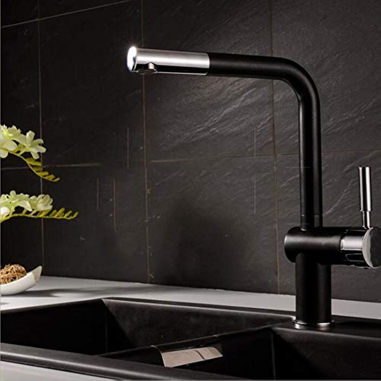 ZMHome KüChe Wasserhahn Drehbar Messing Antik Kalt-Und Warmwasser Mischbatterie Waschbecken Wasserhahn,schwarz