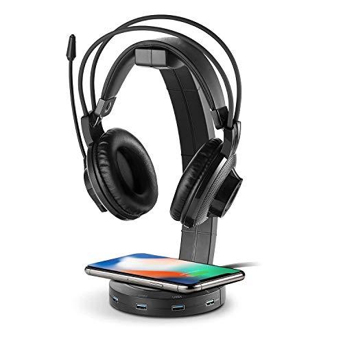 Soporte de auriculares con carga inalámbrica ONEGenug, soporte para auriculares para juegos QI de hasta 10 W, USB Hub con 4 puertos USB para iPhone y Android con pantalla LED