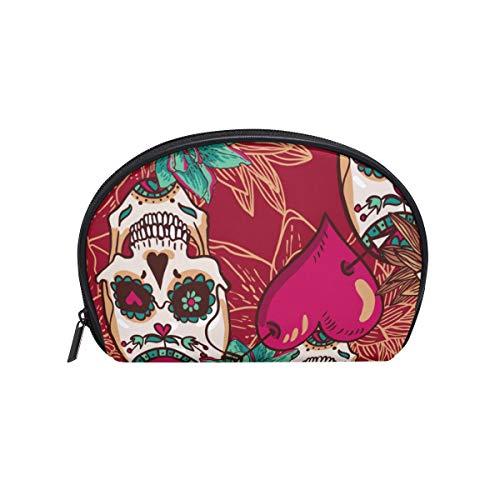 Maquillage sac cosmétique motif coeurs de fleurs drôles de crâne avec fermeture à glissière