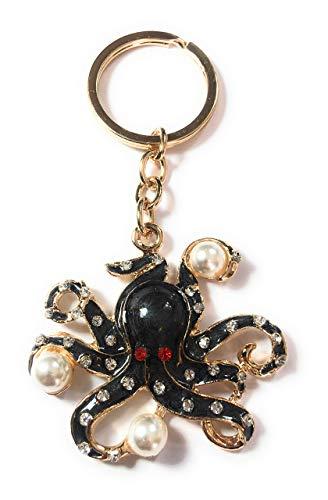 FizzyButton Gifts Octopus sleutelring handtas charme - zwart en goudtint met strass