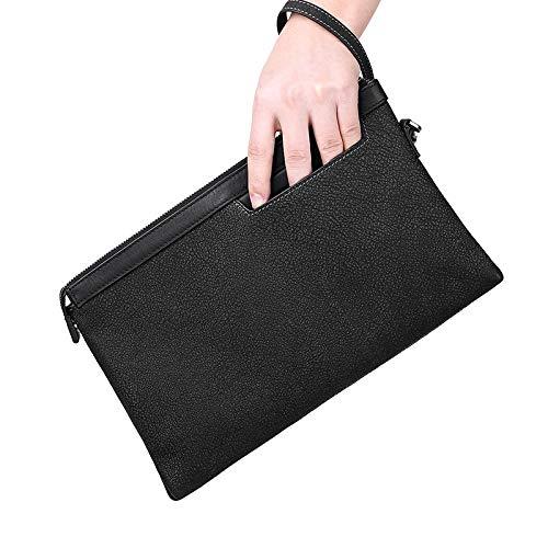 DZX Heren Rits Portemonnee met grote capaciteit - Lederen Zakelijke Polstas Zwart Luxe Cash Clip Zwart-groot