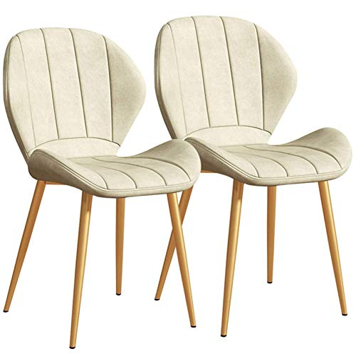 Modern Faux Leather Dining Chairs Set of 2, Back Padded Kitchen Chairs with Golden Metal Legs for Dining Room Living Room Office and Lounge (Color : White)
