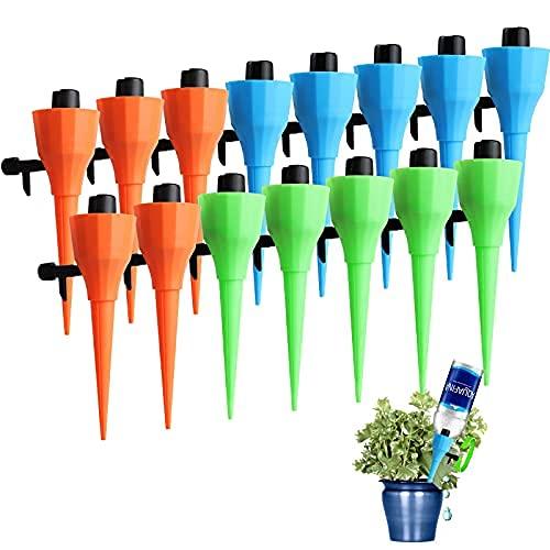 Pinchos de agua Self Watering Spikes 15 unidades, para plantas de agua, liberación lenta, interruptor de válvula de control, riego automático