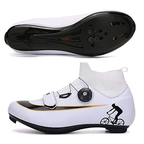 Zapatillas de Ciclismo para Hombres y Mujeres, Zapatillas de Ciclismo de Carretera, Zapatillas Giratorias, Hebilla Transpirable, Compatible con Ciclismo de Interior,White2,EU42 UK8
