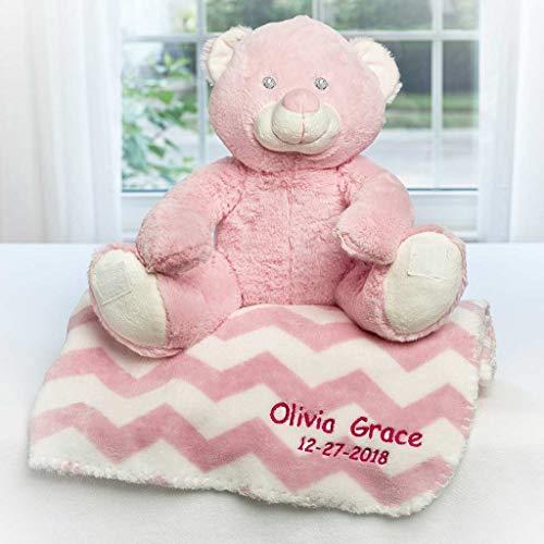 Personalized Dibsies Baby Toy & Blanket Set (Pink Teddy Bear)