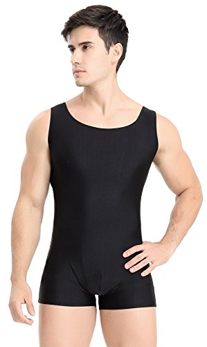 Speerise Speerise Adult Spandex Short Tank Unitard Dancewear Biketard, XXL, Black