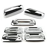 Overun 3-Layer Triple Chrome Plated Top Half Mirror Cover with Signal+ 4Door Handle Cover with Keypad+Tailgate Cover Designed for 2009-2014 Ford F-150
