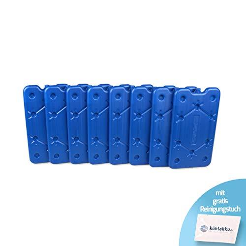 Lot de 8 Blocs réfrigérants Plats de 400 g pour congélation, Refroidissement Rapide, capacité de Refroidissement de 12 h pour glacière et Sacs réfrigérants, Bleu avec Chiffon de Nettoyage Gratuit
