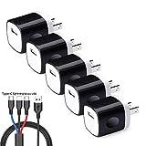 Xflelectronic Paquet de 5 chargeurs muraux USB à Un Port, Adaptateur de Bloc de Charge pour Chargeur de Voyage,...