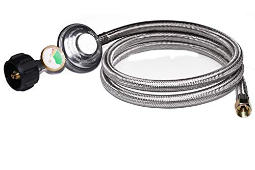 DOZYANT 5 Feet Propane Regulator Hose Replacement with Propane Tank Gauge, Stainless Steel Braided Hose for Burner Stove, Gas Water Heater, Forced Air Heater, Smoker, Burner