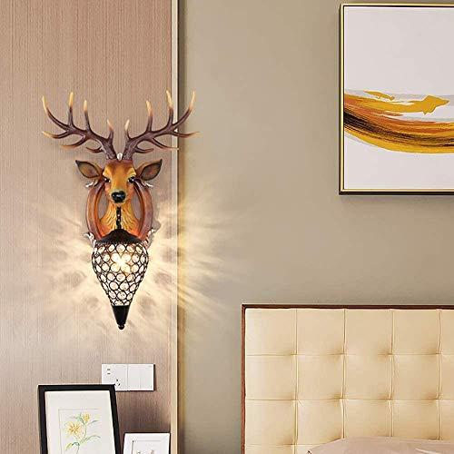 YANQING Duurzame Hertenhoofd LED Wandlamp Creatieve Europese Corridor Aisle Moderne Minimalistische Slaapkamer Nachtkastje Wandlamp Verlichten Uw Leven (Kleur : Bruin), Kleur:Bruin