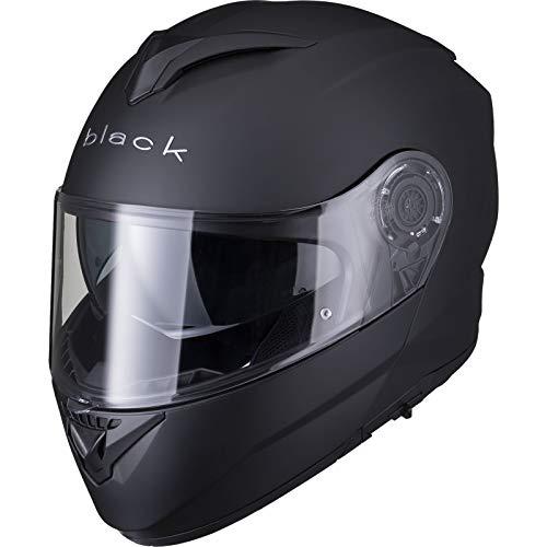 Black Optimus II Flip Front Solid Motorcycle Helmet XXL Matt Black