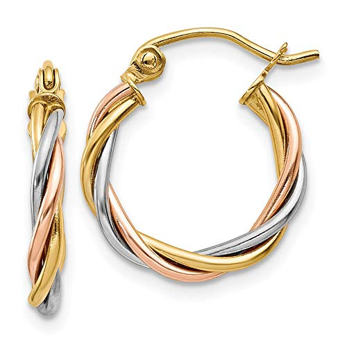 14k Tri Color Yellow White Gold 2.5mm Twisted Hoop Earrings Ear Hoops Set Fine Jewelry For Women Gifts For Her