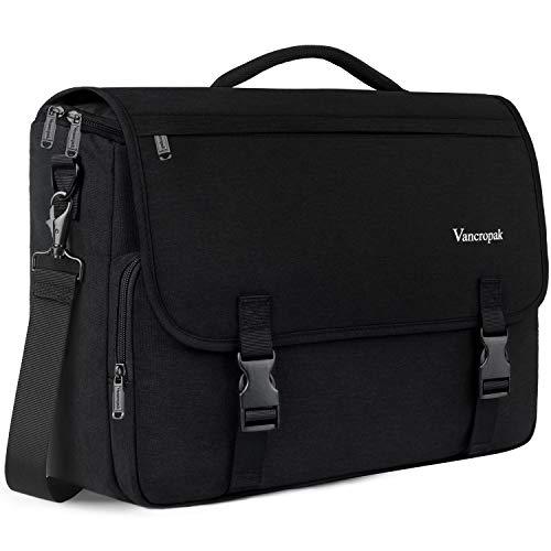 Messenger Bag for Men, Laptop Bag 15.6 Inch, Water Resistant Canvas Shoulder Bag Nylon Crossbody Bag for Women School Teens with Detachable Shoulder Strap Black