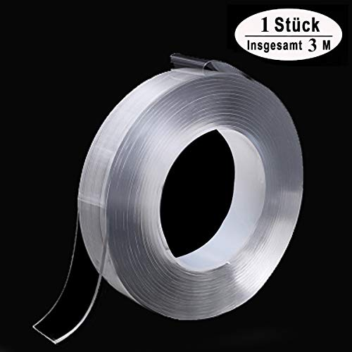 Spurloses Doppelseitiges Gel Klebeband Waschbares Transparent Nano Tape Anti-Rutsch Wiederverwendbare Klebstoff Klebeband Multifunktionales Abnehmbarer Durchsichtige Band (3 m lang, 2 cm breit)