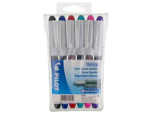 Pilot - V-PEN - Set of 6 Disposable Pens 6 Ink Colours