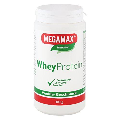 MEGAMAX Whey Protein Drink Molkeneiweiß Vanille 400 g   laktosefreie Molkeneiweißisolat   hochwertiges Low Carb MolkeproteinIsolat   Eiweiß-Shake ideal für Muskelaufbau, Knochen u. Fitness