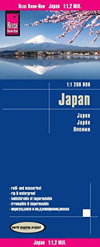 Japón, mapa impermeable de carreteras. Escala 1:1.200.000. Reise Know-How. (Reise Know-How Verlag)