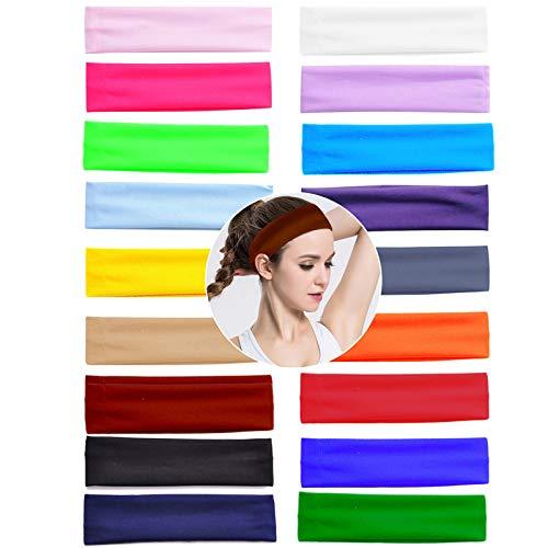19 Piezas Diademas Mujer, Turbantes para Mujer, Elástica Cintas de Pelo Yoga Banda de Algodón para Niña y Mujer