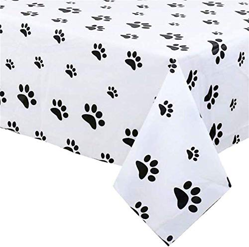 AMZPTBOY Puppy Themed Birthday Party Decorations - Paw Patrol Party Supplies Puppy Paw Print Plastic Tablecloth 54 x 108 inches Disposable Plastic Table Cover for Dog Themed Birthday Party 2 Pack