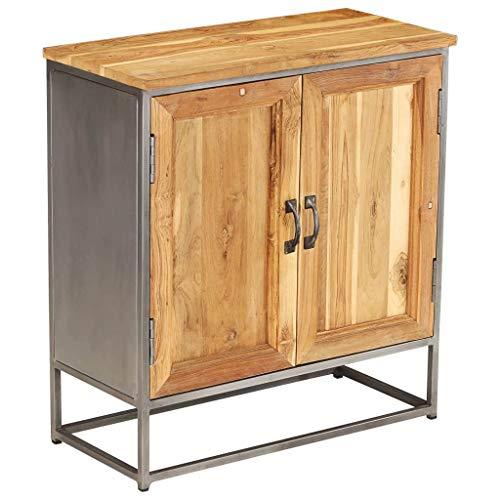 Festnight- Sideboard Kommode Standschrank Recyceltes Teakholz und Stahl Wohnzimmerschrank Highboard Holzschrank 65 x 30 x 70 cm