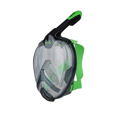 SEAC Unica, Maschera Subacquea Integrale per Snorkeling Full Face 180° con Borsa per Bambini e Adulti, Nero/Verde, L/XL