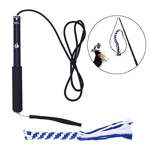 UEETEK Interaktive Spielzeuge für Hunde, Ausziehbar Flirt Pole Funny Jagen Tail Teaser und Trainingsgerät für Haustiere Größe L (Schwarz)