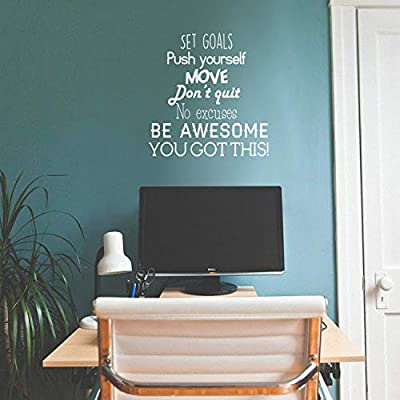 """Set Goals, Push Yourself, Don't Quit - Inspirational Quotes Wall Art Vinyl Decal - 24"""" x 23"""" Gym Quotes Decoration Vinyl Sticker - Motivational Wall Art Decal - Life Quotes Vinyl Sticker Decor"""
