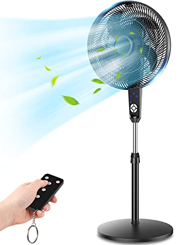 Pedestal Fan, LifePlus Oscillating Fan with Remote Control, Large Standing Fan, 3 Wind Modes, Adjustable Height & Tilt, 7.5 Hour Timer, Electric Cooling Floor Fan for Home, Bedroom, Living Room