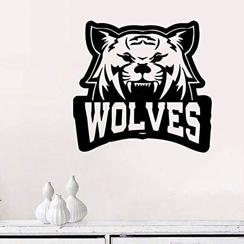Calcomanía de pared de perro lobo Animal hombre lobo artista decoración del hogar dormitorio hombre cueva Bar tatuaje lobo vinilo pared pegatina Mural moderno