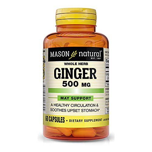 Mason Natural Whole Herb Ginger 500 mg - Healthy Circulation Support and May Sooth Upset Stomach*, Natural Herbal Supplement, 60 Capsules