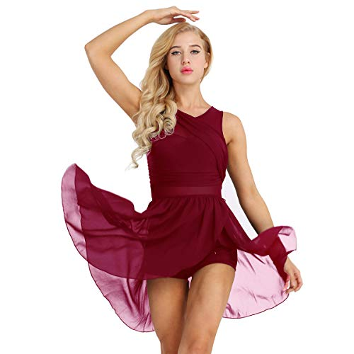 Freebily Damen Chiffon Kleid Ärmellos Tanzkleid Asymmetrisch Ballettkleid Ballett Trikot Jumpsuit Overalls Tanz-Body Gymnastikanzug Latin Tango Kleid Kostüm Weinrot X-Large