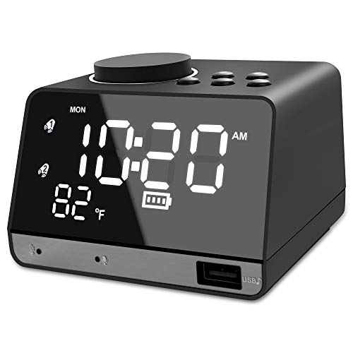 Digital Alarm Clock Radio with Bluetooth Speaker - Built-in 2000mAh Battery Operated, 0-100% Dimmer, Dual Alarm, Weekday/Weekend Mode, Snooze, FM Radio Sleep Timer Thermometer