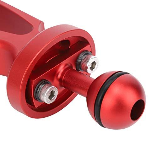 BOTEGRA Soporte de Linterna de Buceo Doble de aleación de Aluminio con Barra de Dos manijas de Metal, para Buceo, Adecuado para cámara, Linterna(Red)
