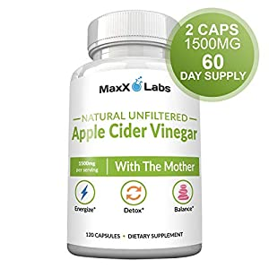 Raw Apple Cider Vinegar Capsules with Mother, 1500mg of Unfiltered, Pure, Natural, Energy Lift, Detox ACV, Fast Acting Pills for Women & Men, Bloating Relief. Gluten-Free, Non-GMO Supplements