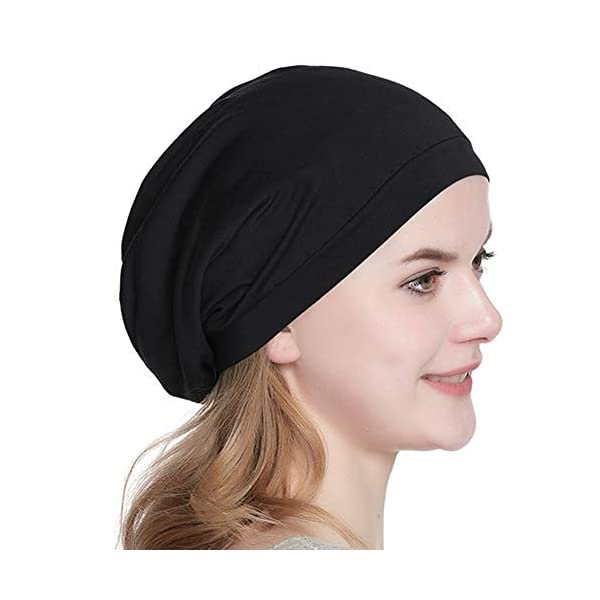 Beauty Shopping Satin Lined Sleep Cap Slouchy Beanie Slap Hat — Soft Elastic
