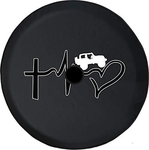 Copriruota di Scorta Croce per Battito Cardiaco Love Copertone per Fuoristrada con Foro per Telecamera di Backup BUC (Adatto: Accessori) 14-17inch