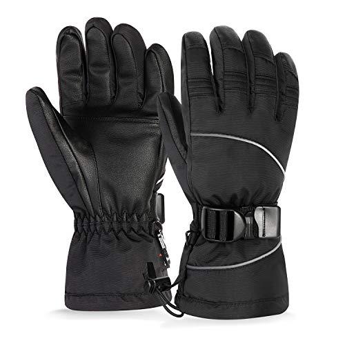 Unigear Skihandschuhe, Top Wasserdicht, Winterhandschuhe, Touchscreen Handschuhe, Ski/Snowboard Handschuhe für Herren und Frauen, MEHRWEG (Schwarz, XXL)
