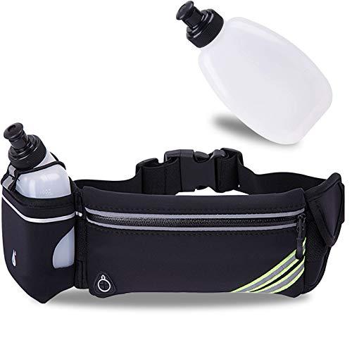 Water Bottle Running Belt for iPhone 11 Pro Max Xr Xs X 10 8 7 6 Plus/Samsung/Phone Belt for Running Women Men Hydration, Reflective Running Waist Pack Workout Pouch Fanny Pack Bounce Runner Belt Bag