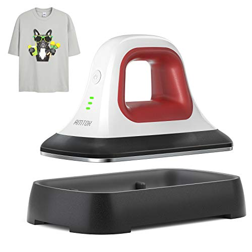 AMTOK Heat Press - 7' x 3.8' Heat Press Machines for T Shirts Shoes Bags Hats and Small HTV Vinyl Projects & Portable Mini Easy Iron Press Machine for Heating Transfer