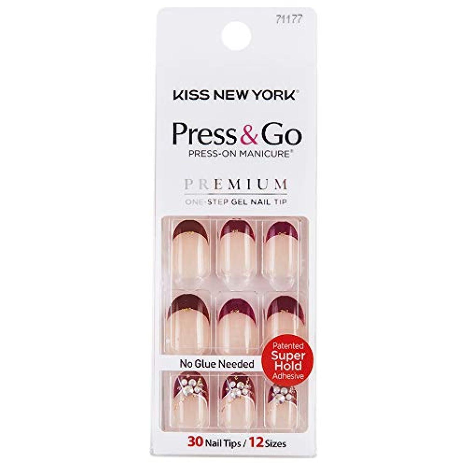 迷彩敏感な裸KISS NEWYORK ネイルチップPress&Go BHJ26J
