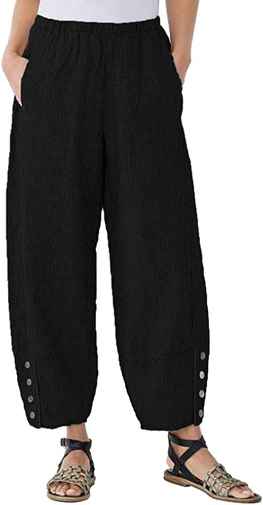 Lovor Button Summer Pants for Women Casual Pockets Cotton Linen Wide Leg Drawstring Elastic Waist Capris Crop Pants