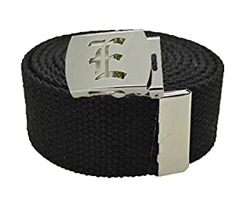 Old English Initial E  Canvas Military Web Black  Belt & Silver Buckle 60 Inch