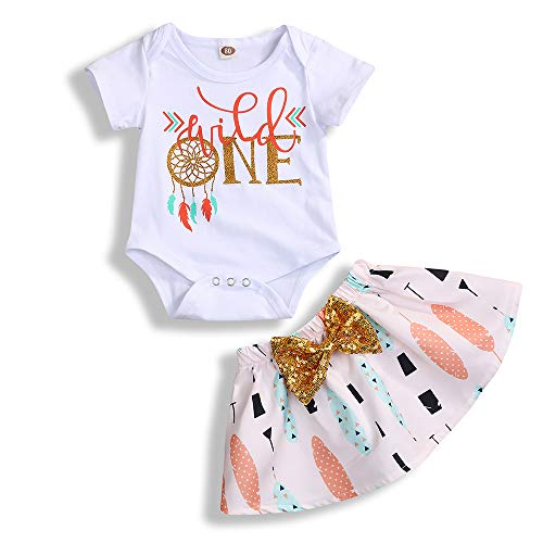 Infant Toddler Baby Girl Outfits 1st Birthday Romper Wild One Top Bow Knot Tutu Skirt 2PCS Summer Clothes (White, 12-18 Months)