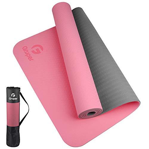 Gruper Esterilla de yoga TPE, tapete de yoga favorable al medio ambiente, antideslizante, con correa de transporte, esterilla de entrenamiento para yoga, pilates y ejercicios de piso