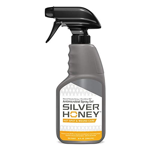 Absorbine Silver Honey Hot Spot & Wound Care Spray Gel, Manuka Honey & MicroSilver BG, Medicated Skin Care for Dogs, Cats, Small Animals, 8oz Bottle