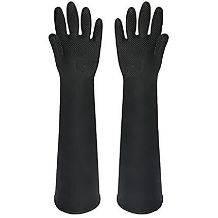 Buwico® 60cm, guantes industriales de látex gruesos de color negro, guantes de limpieza industrial, impermeables, largos, resistentes al desgaste del ácido (1par).